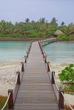 Wooden Bridge Walkway to a Greener World. Wooden Bridge Walkway to a different greener Island in an Island Resort Stock Photos