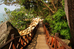 Wooden bridge. Water, decorative handrails, rocks and trees royalty free stock photo