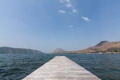 Wooden bridge on the water,Kanchanaburi Royalty Free Stock Images