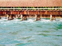 Wooden bridge and water in Thun Royalty Free Stock Photo