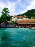 Wooden bridge and water in Thun Stock Photo