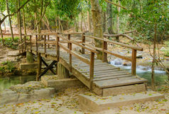 Wooden bridge at waterfall in forest Royalty Free Stock Photography