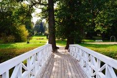 Wooden bridge. White wooden bridge Stock Photo