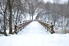 Wooden bridge in winter Royalty Free Stock Image