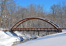 Wooden bridge in winter Royalty Free Stock Images