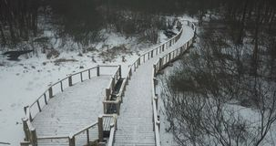 A wooden bridge in a winter forest. Seen from above stock video footage