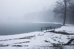 Wooden bridge in a winter lake Royalty Free Stock Photos
