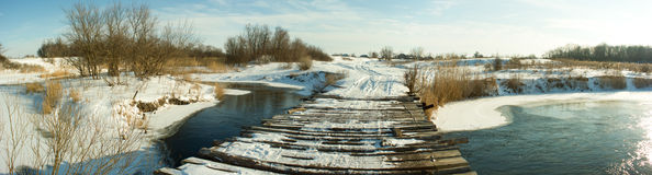 Wooden Bridge Winter Panorama Stock Photo