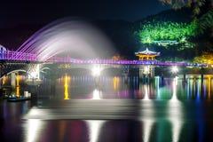 Wooden bridge or Wolyeonggyo bridge in Andong,Korea. Stock Image
