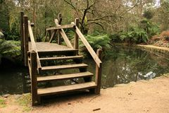 Wooden Bridges in Alfred Nicholas Gardens Stock Photo