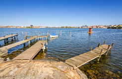Wooden bridges on Karlskrona city coast Stock Images