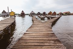 Wooden bridges on the Lake Bokod. Fishing wooden cottages, Hungary stock photo