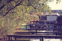 Wooden bridges at lake Royalty Free Stock Photography