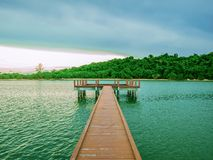 Wooden bridges on the ocean with idyllic ocean. And beautiful Sky in vacation time,Holiday in the sea,Summer concept royalty free stock image