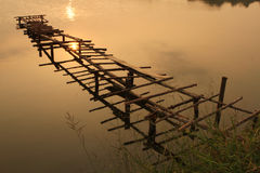 Wooden broken bridge Stock Images