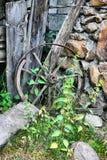 Wooden broken wheel Stock Photo