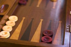Wooden brown backgammon game. With the dice royalty free stock photos