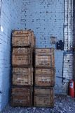 Wooden brown boxes in stock for storage Royalty Free Stock Photography
