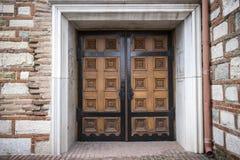 Wooden Brown Carved Door Stock Photo