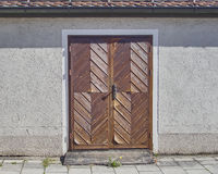 Wooden brown door, Munchen, Germany. House wooden brown door, Munchen, Germany Royalty Free Stock Image