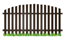 Wooden brown fence. And green grass on white background -  illustration Royalty Free Stock Photos