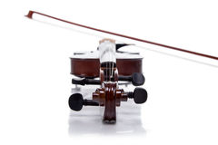Wooden brown fiddle with stick Stock Photography