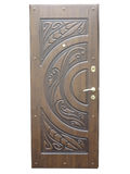 Wooden brown pattern front door isolated over white royalty free stock image