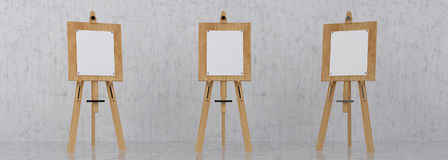 Wooden Brown Sienna Easel with Mock Up Empty Blank Canvas Isolat. Wooden Brown Sienna Easel with Mock Up Empty Blank Canvas  on Background 3d rendering Royalty Free Stock Photography