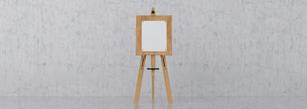 Wooden Brown Sienna Easel with Mock Up Empty Blank Canvas Isolat Stock Photos