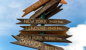 Wooden brown sign with the names of cities Stock Photos