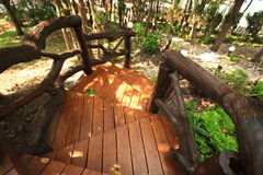 Wooden brown stair garden outdoor Royalty Free Stock Photography