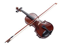 Wooden brown violin with bow. On white background Royalty Free Stock Photos