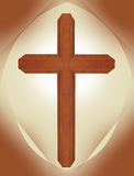 Wooden brown walnut ornate cross with brown cathedral shape and beige background christian symbol of resurrection Royalty Free Stock Photo