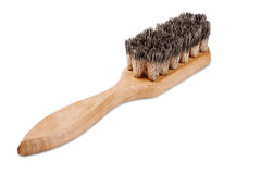 Wooden brush with bristles on isolated white background Royalty Free Stock Photo