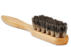 Wooden brush for cleaning shoes with the bristles Royalty Free Stock Image