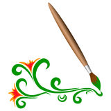 Wooden brush with green flowers. Wooden brush with green doodle flowers Stock Photography