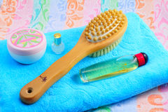 Wooden Brush With A Handle For Body Massage , Towel And Objects Stock Photos