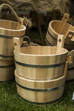 Wooden bucket. Old fashioned antique wood water bucket Stock Images