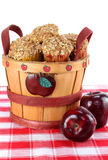 Wooden bucket of apple cinnamon muffins Royalty Free Stock Image