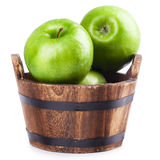 Wooden bucket apple Royalty Free Stock Images