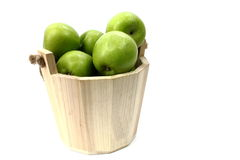 Wooden Bucket with Apples Stock Photo