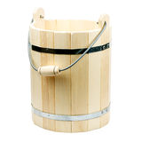 Wooden bucket for a bath. Isolated on white Stock Photography