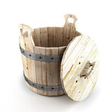 Wooden bucket for a bath Stock Photo