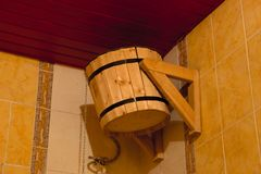 Wooden bucket for bath or sauna Stock Photography