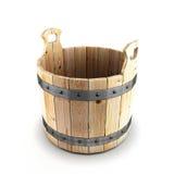 Wooden bucket for a bath Stock Photos
