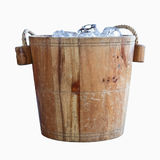 Wooden bucket with ice Royalty Free Stock Photos