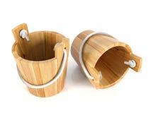 Wooden bucket isolated Stock Image