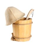 Wooden bucket with ladle and heat for the sauna Stock Image
