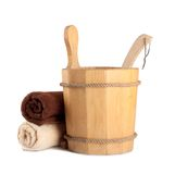 Wooden bucket with ladle for the sauna Royalty Free Stock Photos