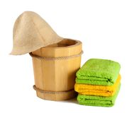 Wooden bucket with ladle for the sauna Royalty Free Stock Images
